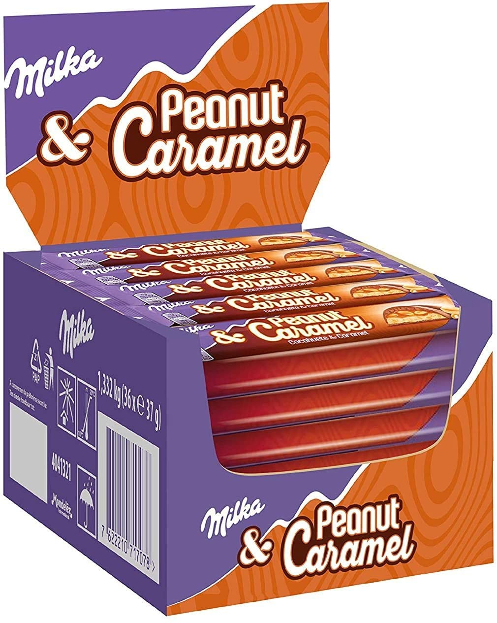 Milka peanut caramel 37g box of 36