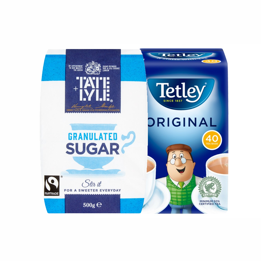 Tetley Original Tea Bags x40 + Tate & Lyle Fairtrade Granulated Sugar 500g