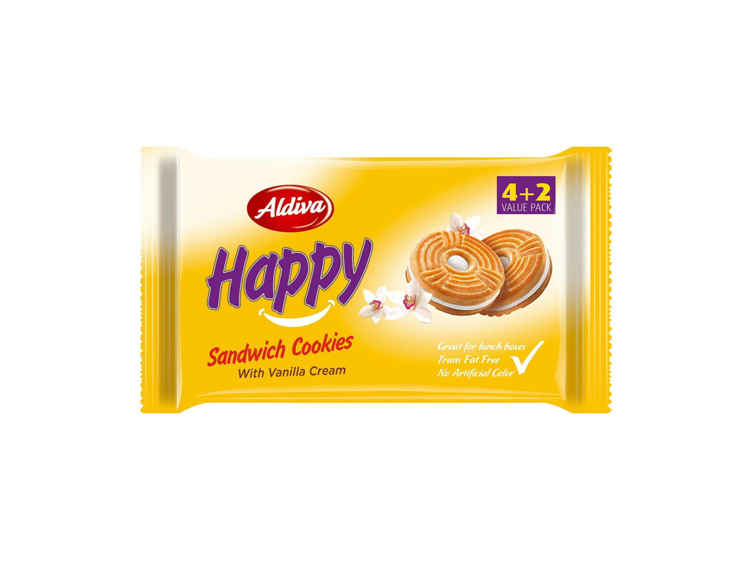 BEST BEFORE 19/10/2021 ALDIVA HAPPY SANDWICH COOKIES WITH VANILLA CREAM Flava Benefits